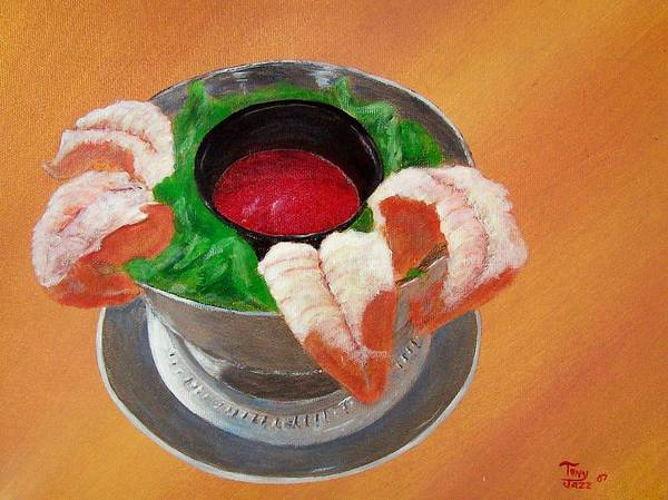 Food Poster featuring the painting Shrimp Cocktail by Tony Rodriguez