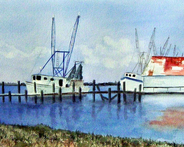 Shrimpboat Poster featuring the painting Shrimpboats At Dock by Carol Sprovtsoff