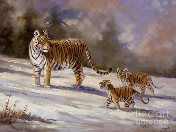 Tiger Mother And Cubs Poster featuring the painting Siberian Tiger Family by Silvia Duran
