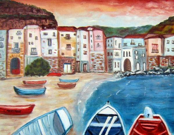 Landscape Poster featuring the painting Sicilian Fishing Village by Lia Marsman