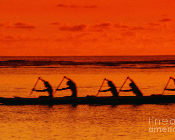 Blur Poster featuring the photograph Side View Of Paddlers by Joe Carini - Printscapes