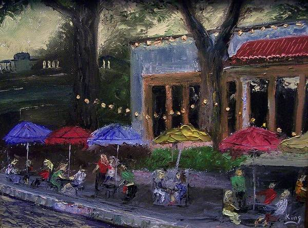 Landscape Poster featuring the painting Sidewalk Cafe by Stephen King