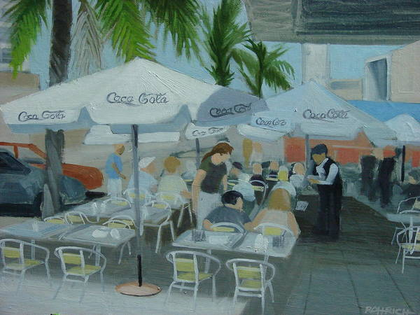 Sidewalk Cafe Poster featuring the painting Sidewalk Cafe Study by Robert Rohrich
