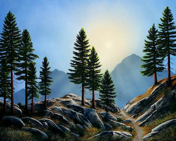 Landscape Poster featuring the painting Sierra Sentinals by Frank Wilson