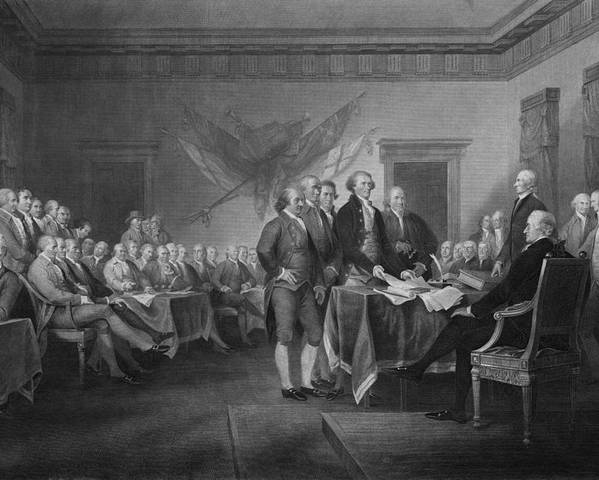 Declaration Of Independence Poster featuring the mixed media Signing The Declaration Of Independence by War Is Hell Store