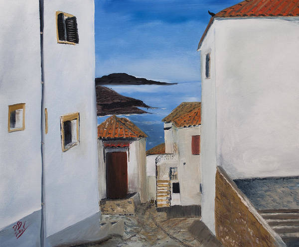 Oil Painting Poster featuring the painting Sigri Village On Lesvos Greece. by David Bewley