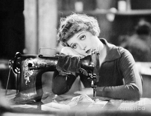 -sewing & Knitting- Poster featuring the photograph Silent Film Still: Sewing by Granger