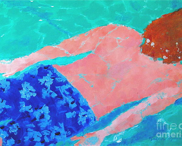 Swimming Poster featuring the painting Silent Motion by Art Mantia