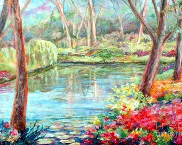 Landscape Poster featuring the painting Silent Pond by Nancy Isbell
