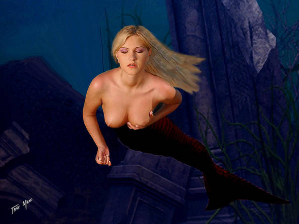 Mermaid Poster featuring the painting Silent Prayer by Tray Mead