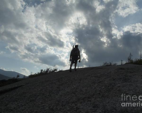 Silhouette Poster featuring the photograph Silhouette Of A Hiker On Middle Sugarloaf Mountain - White Mountains New Hampshire Usa by Erin Paul Donovan