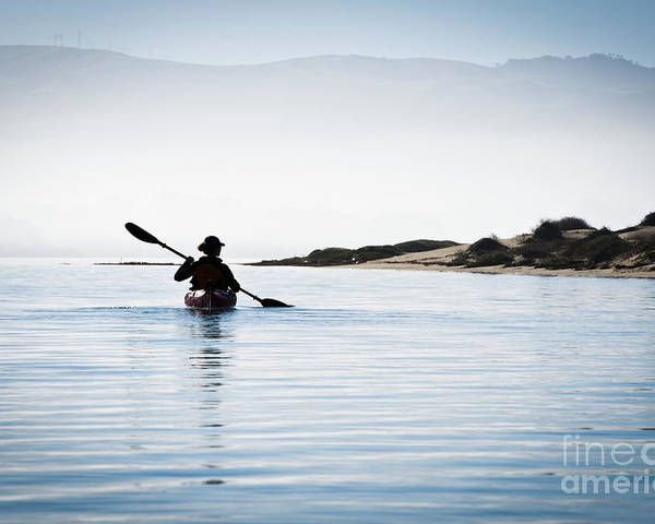 Active Poster featuring the photograph Silhouetted Kayaker In Morro Bay by Bill Brennan - Printscapes