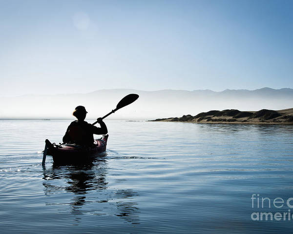 Active Poster featuring the photograph Silhouetted Morro Bay Kayaker by Bill Brennan - Printscapes