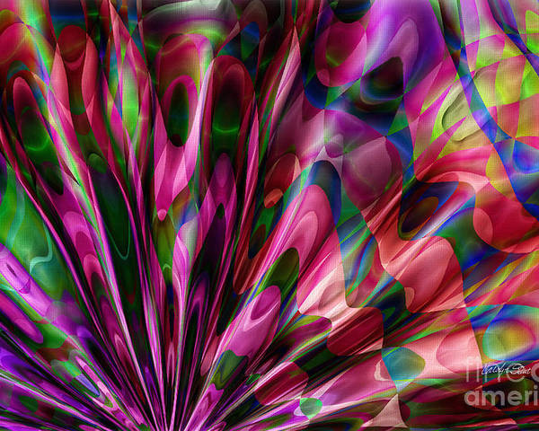 Abstract Realism Colors Fans Abstract Digital Poster featuring the digital art Silken Fan by Carolyn Staut