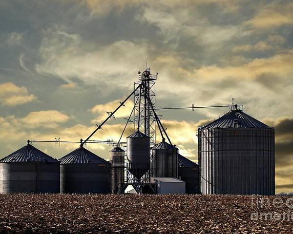 Farm Poster featuring the photograph Silo In The Clouds by Scott B Bennett