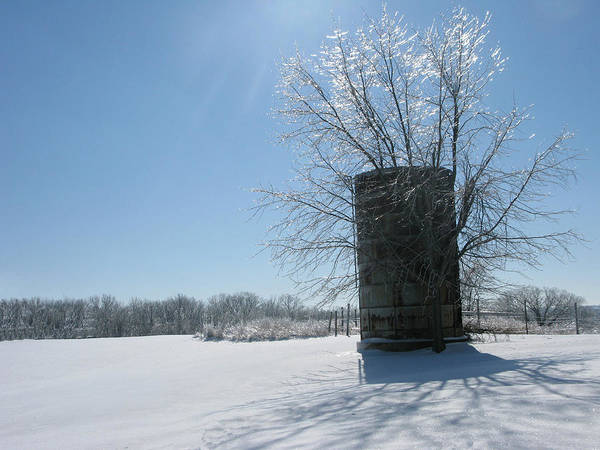 Sun Poster featuring the photograph Silo In The Snow by Martie DAndrea