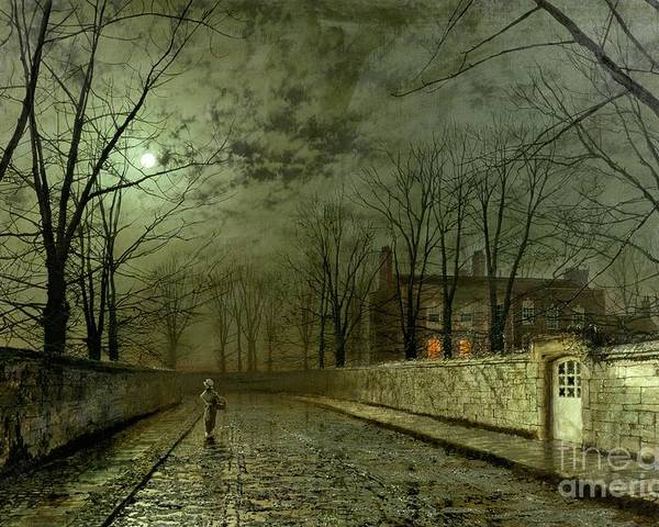 Silver Moonlight Poster featuring the painting Silver Moonlight by John Atkinson Grimshaw