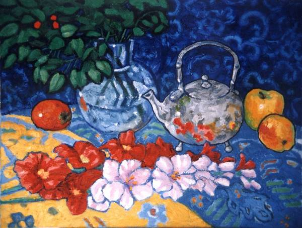 Still Life Poster featuring the painting Silver Tea Pot by Paul Herman