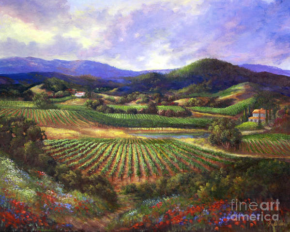 Landscape Poster featuring the painting Silverado Valley Blooms by Gail Salitui