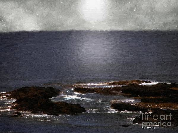 Sea Poster featuring the painting Silvered Sea by RC DeWinter