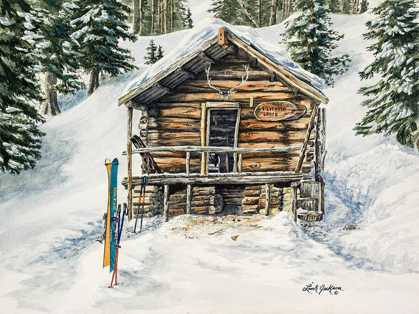 Rustic Poster featuring the painting Silvertip Lodge by Link Jackson