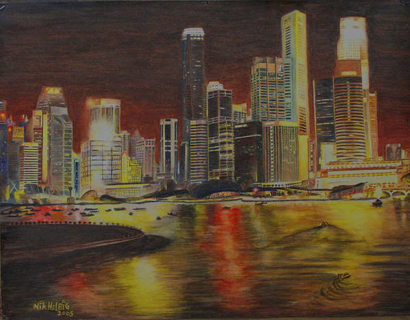 Cityscape Poster featuring the painting Singapore Nights by Nik Helbig