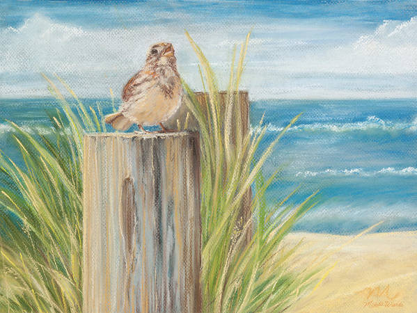 Bird Poster featuring the pastel Singing Greeter At The Beach by Michelle Wiarda