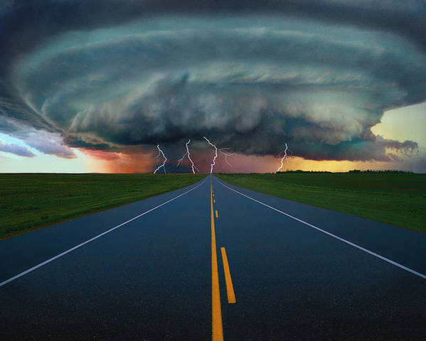 Climate Poster featuring the photograph Single Lane Road Leading To Storm Cloud by Don Hammond