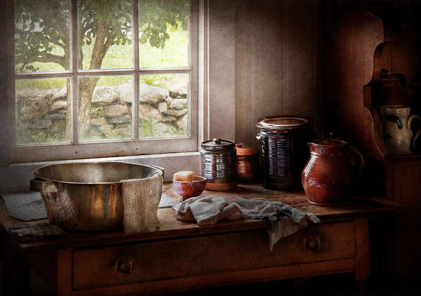 Hdr Poster featuring the photograph Sink - The Morning Chores by Mike Savad