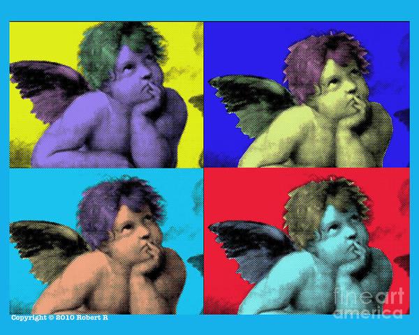 Sisteen Chapel Poster featuring the painting Sisteen Chapel Blue Cherub Angels After Michelangelo After Warhol Robert R Splashy Art Pop Art Print by Robert R Splashy Art