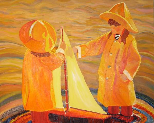 Sisters Poster featuring the painting Sisters by Dorota Nowak