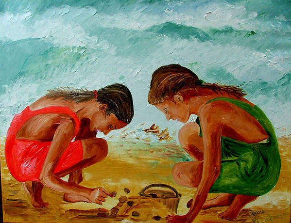 Girls Poster featuring the painting Sisters On The Beach by Inna Montano