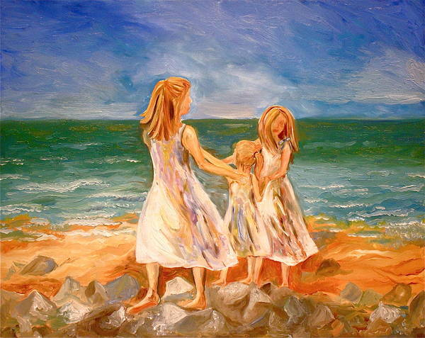 Sister Poster featuring the painting Sisters by Rebecca Robinson