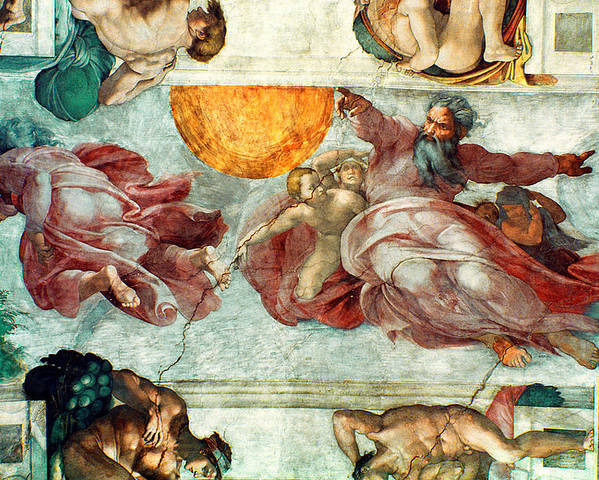 Sistine Poster featuring the painting Sistine Chapel Ceiling Creation Of The Sun And Moon by Michelangelo