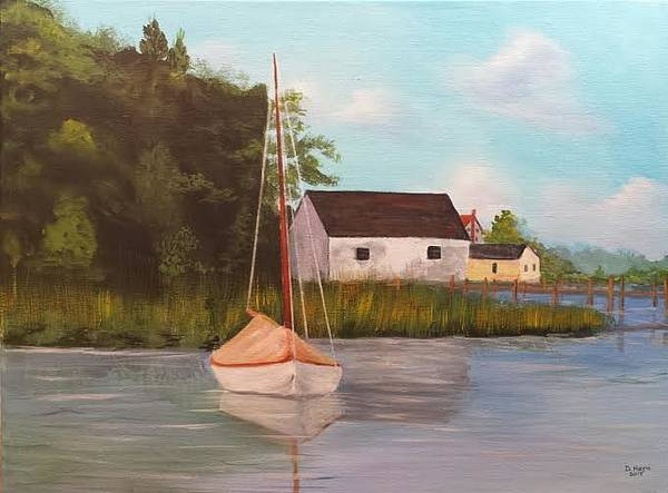 Boat In Harbor Poster featuring the painting Sitting In Still Waters by Douglas Harn