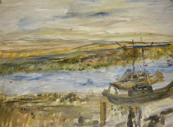 Southern Tip Of San Francisco Bay ( Alviso Boat Docks ) Poster featuring the painting Sitting On The Dock Of The Bay by Edward Wolverton