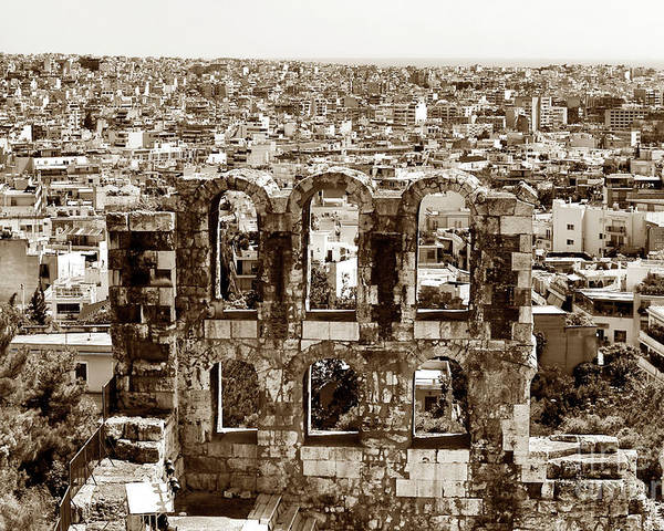 Six Arches In Athens Poster featuring the photograph Six Arches In Athens by John Rizzuto