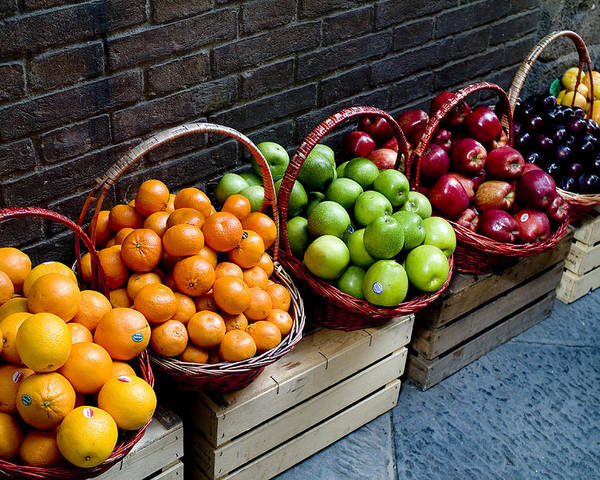 Fruit Poster featuring the photograph Six Baskets Of Assorted Fresh Fruit by Todd Gipstein
