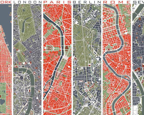 Six Cities Map Nyc London Paris Berlin Rome Seville Poster By Jasone