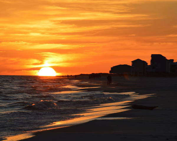 Ocean Poster featuring the photograph Sizzling Sunset by Sue Houston