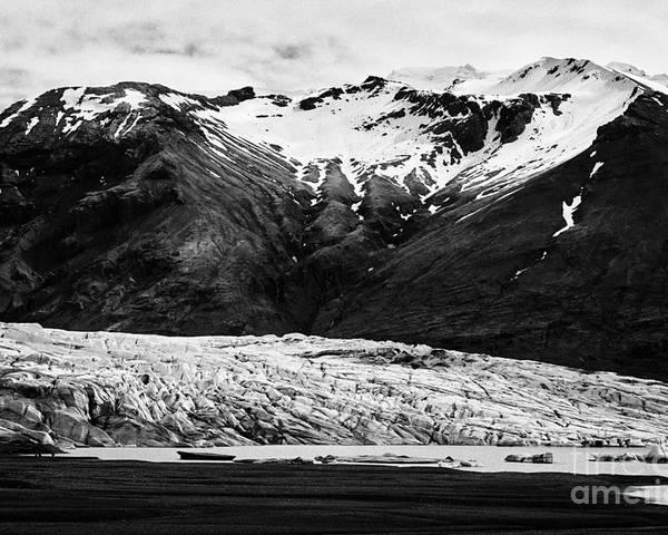 Skaftafellsjokull Poster featuring the photograph Skaftafell Glacier And End Lagoon With Icebergs Vatnajokull National Park In Iceland by Joe Fox