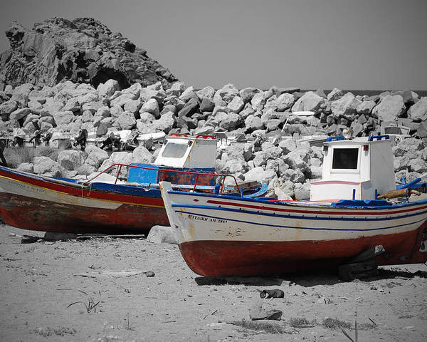 Skala Eressos Poster featuring the photograph Skala Eressos Harbour Boats by Daren Griffin