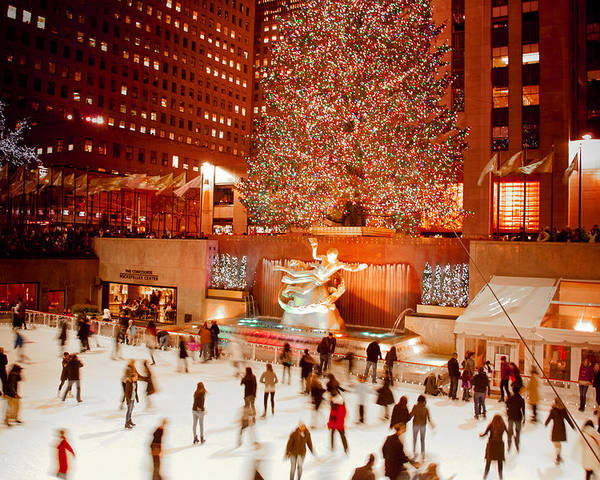 Rockefeller Plaza Poster featuring the photograph Skating At Rockefeller Plaza by Heidi Reyher