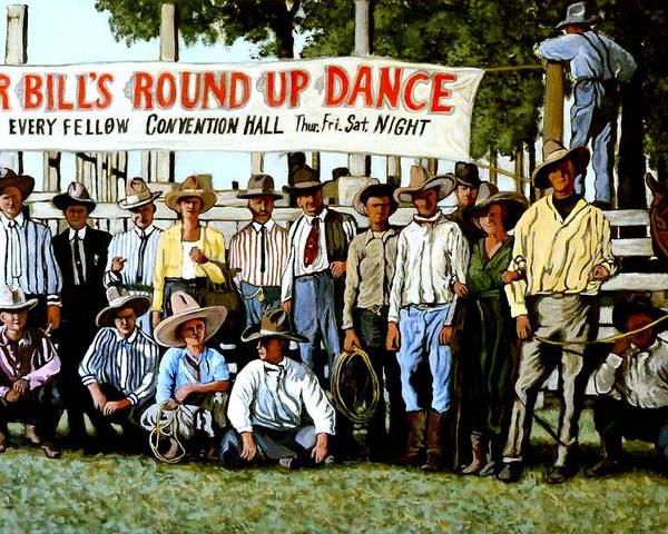 Bull Poster featuring the painting Skeeter Bill's Round Up by Tom Roderick
