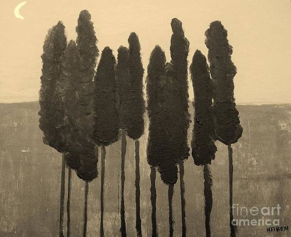 Painting Poster featuring the painting Skinny Trees In Sepia by Marsha Heiken