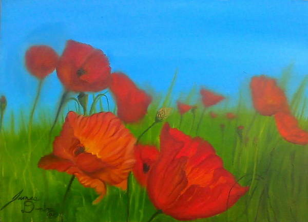 Red Impressionism Poster featuring the painting Sky Blue Poppies by Portland Art Creations