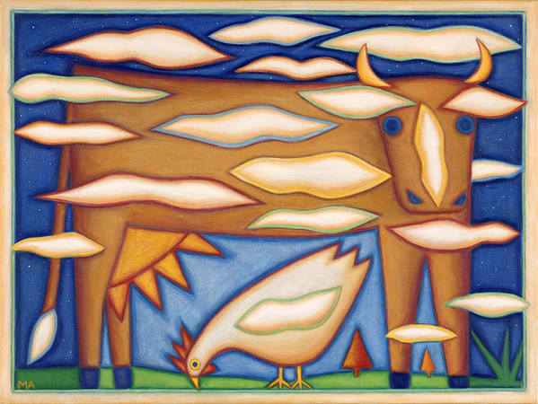 Whimsical Poster featuring the painting Sky Cow by Mary Anne Nagy