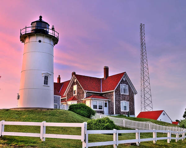 New England Poster featuring the photograph Sky Of Passion - Nobska Lighthouse by Thomas Schoeller