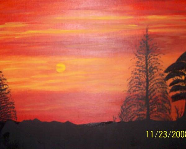 Landscape Poster featuring the painting Sky On Fire by Paula Ferguson