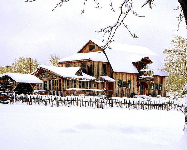Barn Poster featuring the photograph Skyland Farms In Winter by Roger Soule